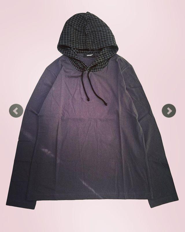 UNDERCOVER アンダーカバー 小紋CKフード付ロンTEE チャコール UCW4807 /ロンT 長袖Tシャツ