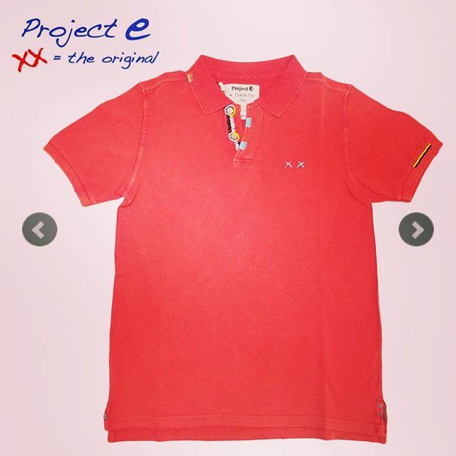 Project e プロジェクトイー ポロシャツ レッド ヴィンテージウォッシュ SLIM 910991364025 / projecte プロジェクト イー 鹿の子