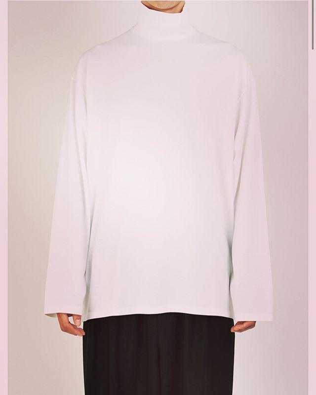 LAD MUSICIAN ラッドミュージシャン HIGH NECK BIG T-SHIRT 無地ハイネックネックビッグTシャツ ホワイト 2219-703 / Tシャツ