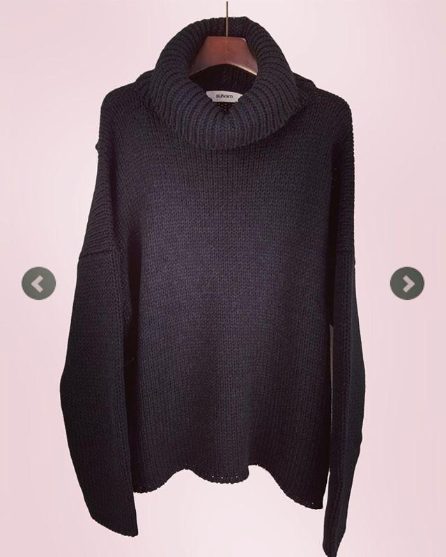 sulvam サルバム ダブルネックニット ブラック double neck knit SK-K10-850