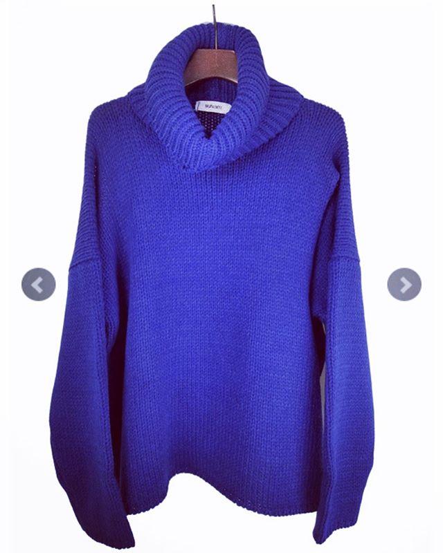 sulvam サルバム ダブルネックニット ブルー double neck knit SK-K10-850