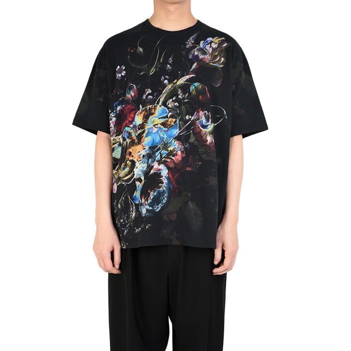 LAD MUSICIAN ラッドミュージシャン ビッグTシャツ ブラック×ブルー×イエロー BIG T-SHIRT 2219-715 / 花柄 フラワー