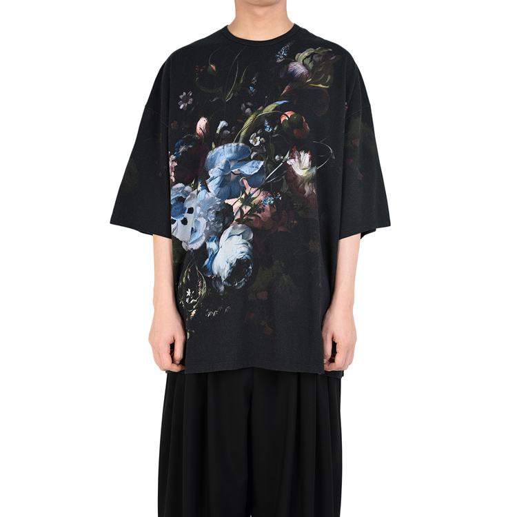 LAD MUSICIAN ラッドミュージシャン SUPER BIG T-SHIRT スーパービッグTシャツ ブラック×ベーシック 2219-716 / 花柄 フラワー