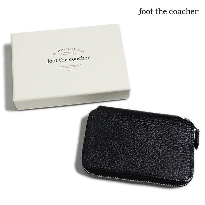 foot the coacher フットザコーチャー ショートジップウォレット ブラックxホワイト SHORT ZIP WALLET FTA1712008 / 財布 サイフ ラウンドファスナー-1