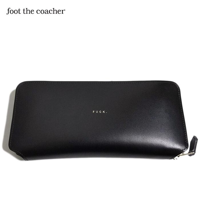 foot the coacher フットザコーチャー ラウンドファスナー ロングジップウォレット ブラック LONG ZIP WALLET (FUCK VER.) FTA1834001-1
