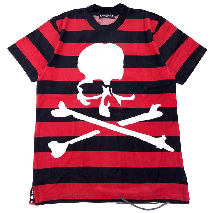mastermind JAPAN マスターマインドジャパン ベロアボーダージャガード レギュラーフィット ブラック×レッド MJ19E03-TS081-011 /Tシャツ