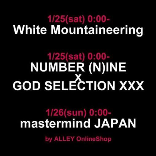 ホワイトマウンテニアリング、ナンバーナインxゴッドセレクショントリプルエックス、マスターマインドジャパンの新作が発売