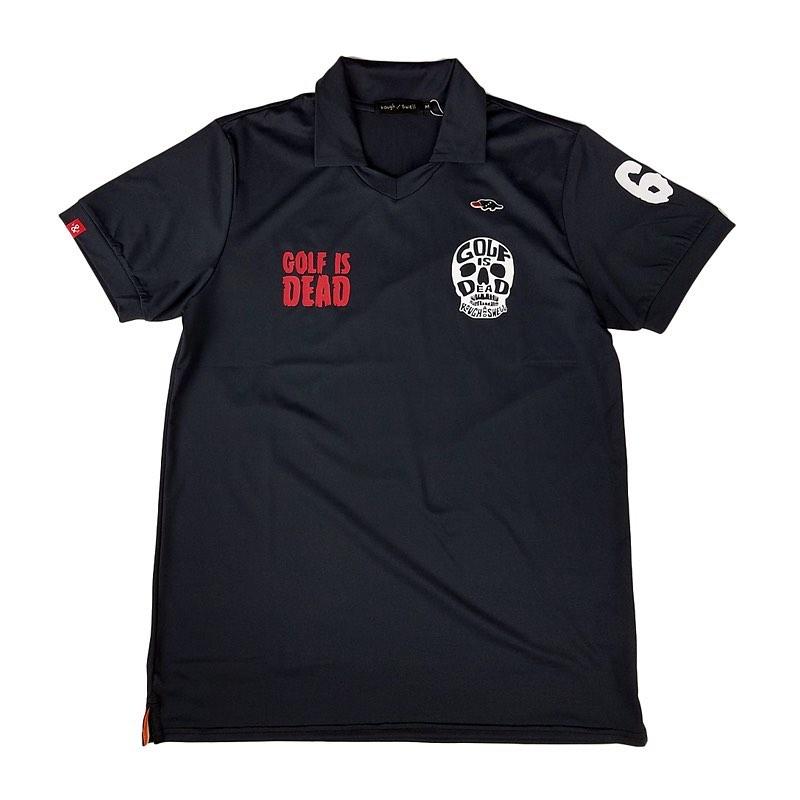 rough&swell ラフアンドスウェル SKULL SK スキッパー ポロシャツ ブラック RSM-20026 / ゴルフウェア