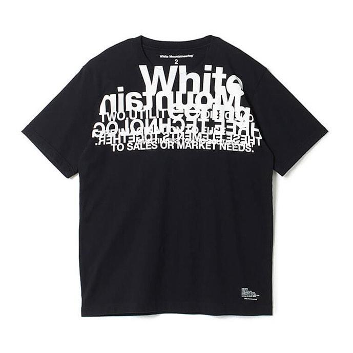 White Mountaineering ホワイトマウンテニアリング LOGO LAYERED PRINTED T-SHIRT レイヤード プリントTシャツ ブラック WM2071523