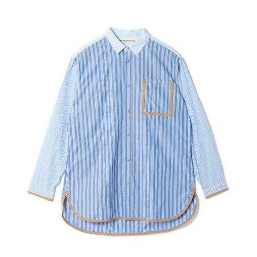 White Mountaineering ホワイトマウンテニアリング STRIPED BIG SHIRT ストライプ ビッグシャツ ブルー WM2071108 / 長袖シャツ