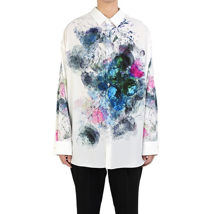 LAD MUSICIAN ラッドミュージシャン FLOWER BACK-FRONT SHIRT バックフロント 花柄シャツ ホワイト 2120-113 / フラワー
