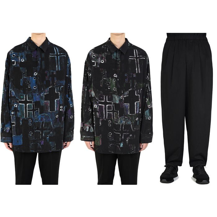 LAD MUSICIAN/ラッドミュージシャンのバックフロントクロスビッグシャツ&テーパードワイドパンツ