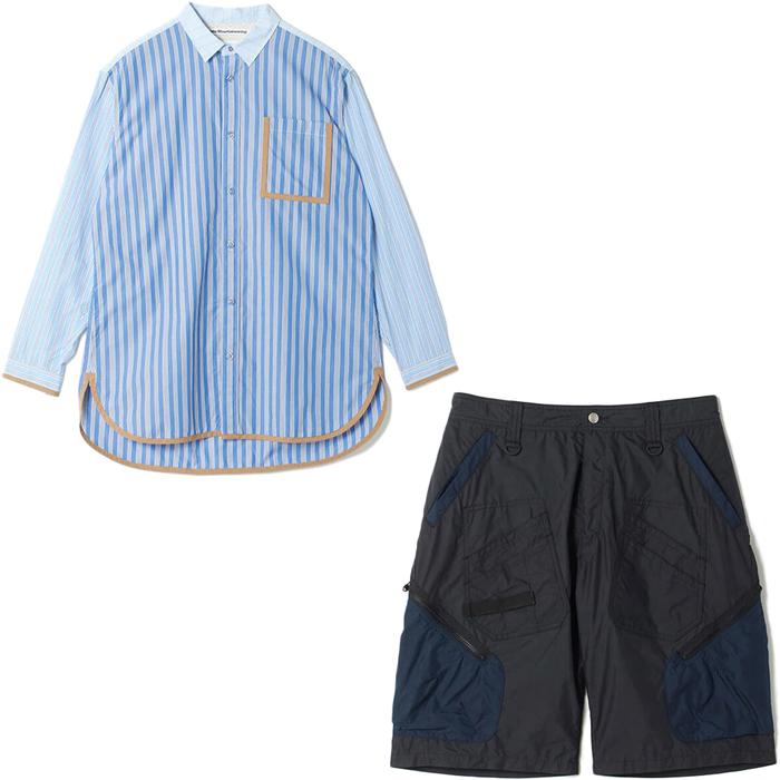 White MOuntaineering/ホワイトマウンテニアリングの新作ストライプシャツとカーゴショートパンツ