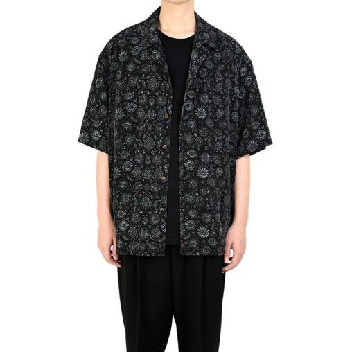 LAD MUSICIAN ラッドミュージシャン OPEN COLLAR BIG SHIRT オープンカラー 半袖ビッグシャツ ブラック 2320-112