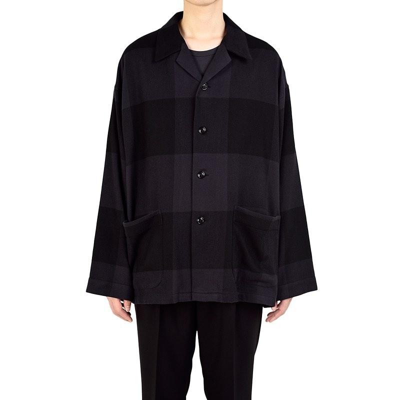 LAD MUSICIAN ラッドミュージシャン BIG PAJAMA SHIRT ビッグパジャマシャツ パープルブラック×ブラック 2220-112