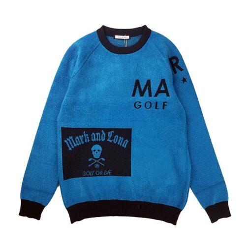 【木村拓哉さん着用モデル】MARK&LONA マークアンドロナ Hype Block Crew Sweater MEN クルーネックニット ブルー MLM-0C-AB02